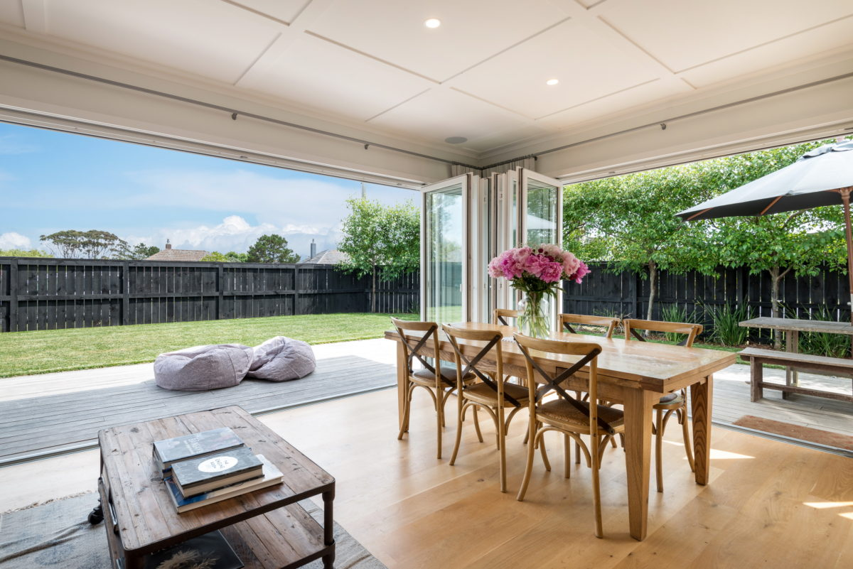 wooden floor - dining room and deck